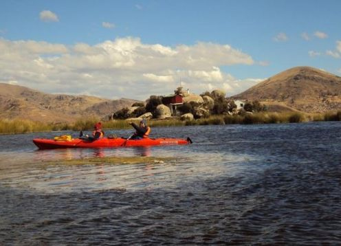 Kayaking in the Uros and Taquile Islands. Puno, PERU
