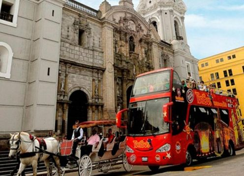 City Sightseeing tour bus tour through the city of Lima. Lima, PERU