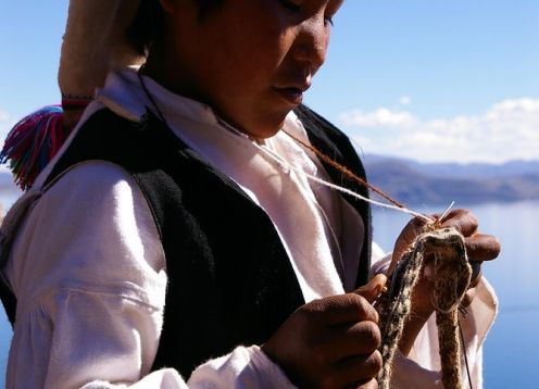 Cultural excursion by motor boat to the island of Taquile.. Puno, PERU