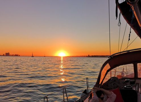 The Best Sunset Sailing Tour in Lisbon on a Luxury Sailing Yacht. Lisbon, PORTUGAL