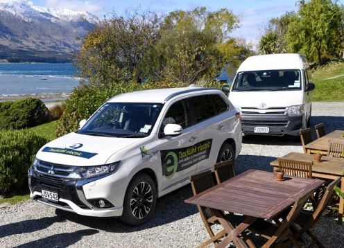 Routeburn track transport  in electric vehicle. Queenstown, New Zealand