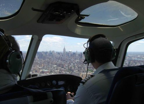 Helicopter flight through Manhattan, New York. New York, NY, UNITED STATES