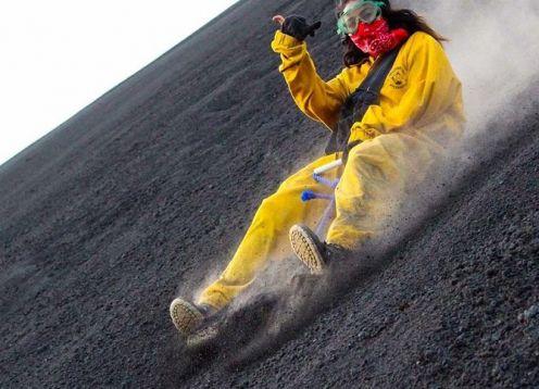 Volcano boarding at Cerro Negro and Las Pe�itas Beach Tour. Managua, Nicaragua